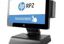 HP RP2 with stand and Slim MSR, left facing