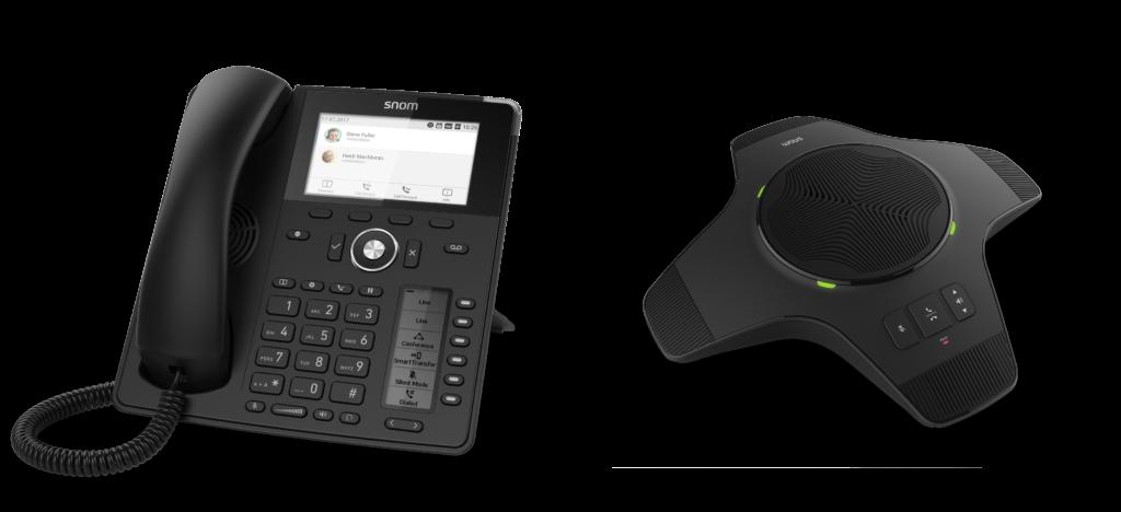 Snom D785 e l'altoparlante cordless DECT portatile Snom C52-SP